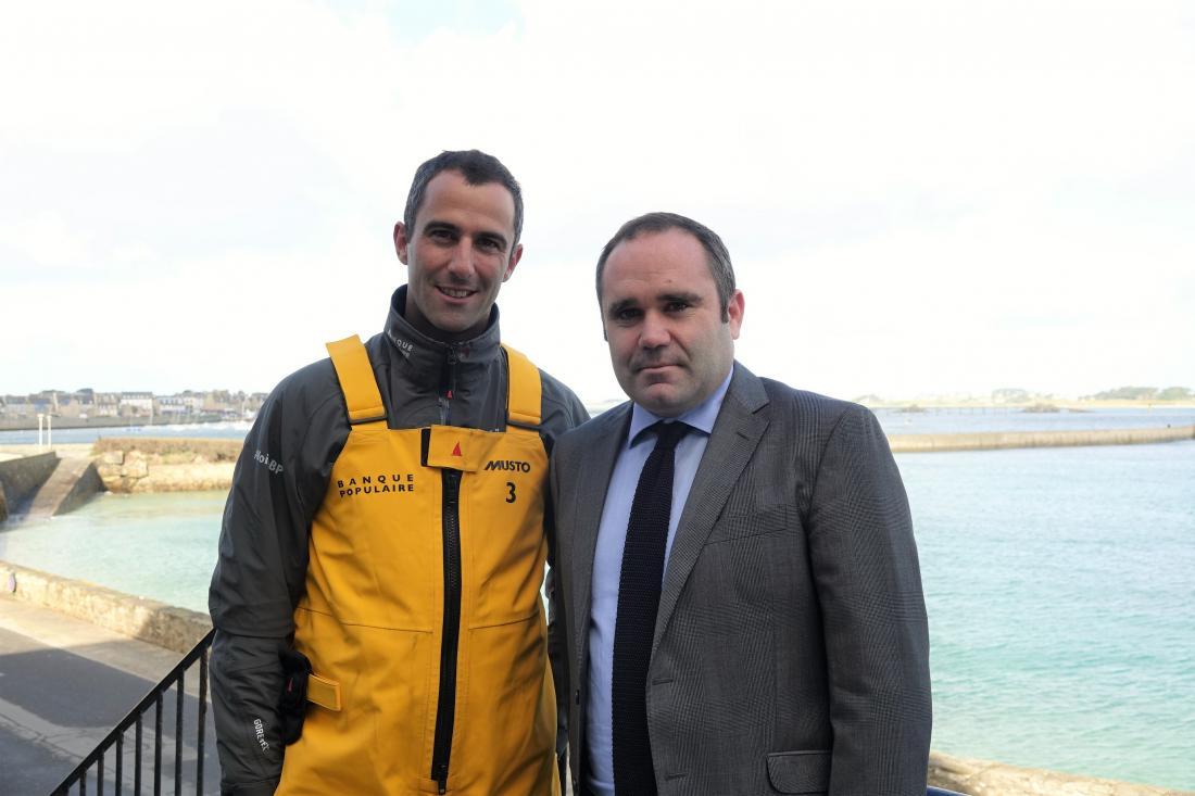 Armel Le Cléac'h vainqueur du Vendée Globe 2017 et Jean-Marie Chapalain, propriétaire du Brittany à Roscoff