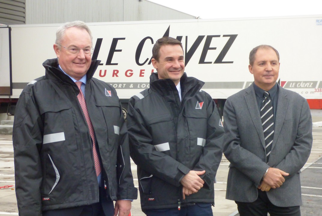 De G à D , Jean Jacques Le Calvez, PDG, Stéphane Robert, DG de Le Calvez Surgelés et Pascal Boulanger, Directeur Hygiène , sécurité et environnement