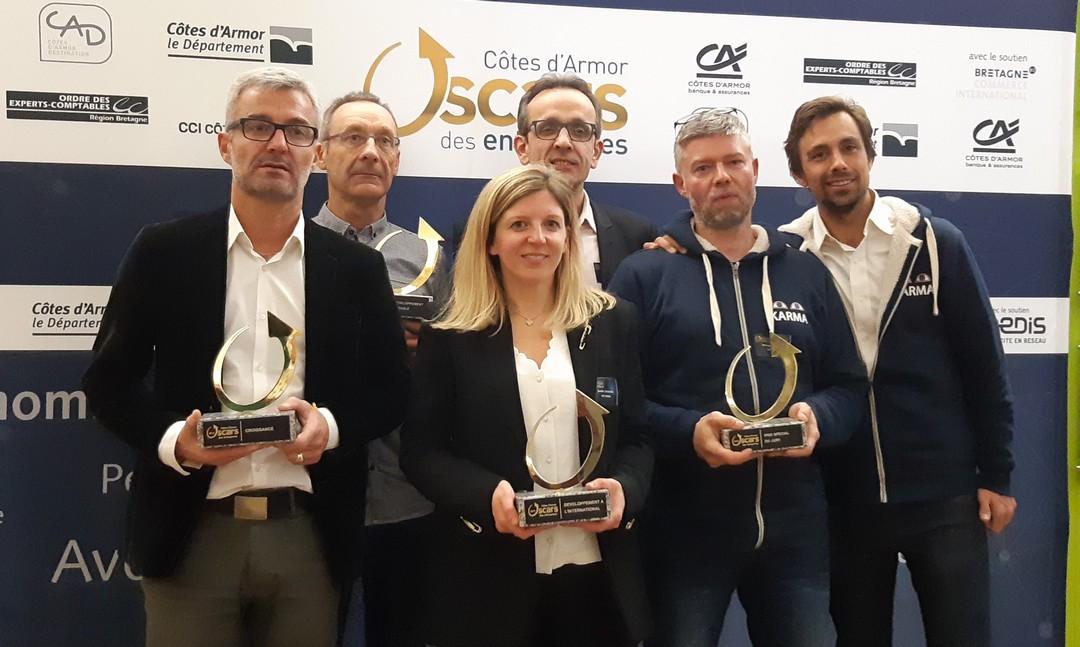 De G a D : Nicolas Garnier (TMG), Alain Panhalleux (Pactisoud), Aurélie Tacquard (Loc Maria), Loïc Barbot (Protec) et Simon Ferniot et Laurent Coulomme Labarthe (Biogroupe)