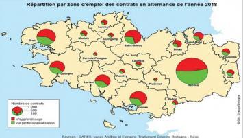 Répartition par zones d'emplois des contrats en alternance en bretagne en 2018
