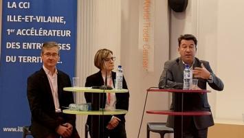 de g à d : Rémi langlois et Stéphanie Pédron, memebres élus et Emmanuel Thaunier, Président de la CCI Ille-et-Vilaine