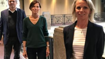 Pierre Montel, président de la CCI du Morbihan, Maryline Bénabes, commerçante et élue CCI et Géraldine Scardin, commerçante et élue CCI.