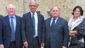 Frank Bellion, Président de CCIMBO (2ème en partant de la gauche) entouré des 3 présidents de délégation : Jean-François Garrec (Quimper), Jean-Paul Chapalain (Morlaix) et Evelyne Lucas (Brest)
