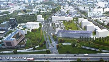 La Courrouze, nouveau quartier entre Rennes et Saint-Jacques-de-la-Lande, où logements et locaux d'activité cohabitent dans un parc.