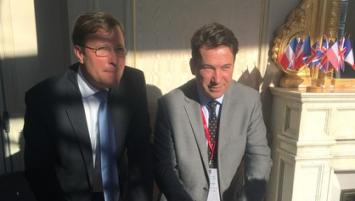Olivier Campenon, président de la Chambre Franco-britannique et Emmanuel Thaunier, président de la CCI Ille-et-Vilaine le 19 avril lors de la signature de la convention  de partenariat entre les 2 structures