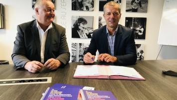 Jean-Pierre Rivery, vice-président de la CCI du Morbihan et Emmanuel Durand, directeur régional de Saur Bretagne