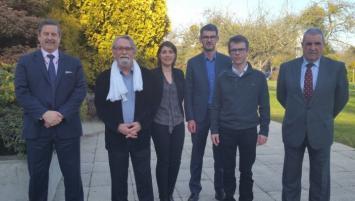 Une partie de la délégation  d'écoorigin, lors d'une réunion à distance entre Rennes-Nantes-Paris- de gauche à droite : M.Raoul, M.Janin, M.Breuil, M.Le Gonnidec, Mme Dubois, M.Bruc, M.Jestin, Mme Plantard, M.Lozachmeur, M.Debureau, M.Motte