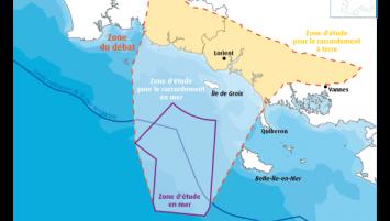 Zone proposée pour accueillir un futur parc éolien flottant au sud de la Bretagne