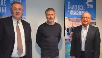 de g à d : Thomas Froehlicher, Directeur de Rennes School of business, Brice Rocher, PDG du Groupe Yves Rocher et François Châtel, Président de Rennes School of Business