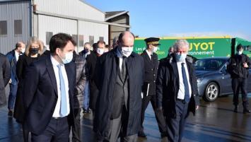Jean Castex, Premier ministre, en visite chez Guyot Environnement, samedi 6 février 2021.