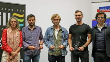 Béatrice Chasle nouvelle présidente d'Initiative Rennes élue en juin 2019 avec les lauréats des trophées et Jérôme Tré-Hardy, ancien président