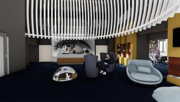 l'architecte nantais Philippe Lucazeau a fait suspendre au plafond une nasse géante, rappelant une « nasse de pêcheur ».