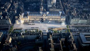 Vue aérienne du futur Palais du Commerce de Rennes