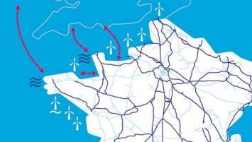 Le futur parc éolien en mer de la baie de Saint-Brieuc sera composé de 62 éoliennes, d'une puissance totale installée de 496 MW.