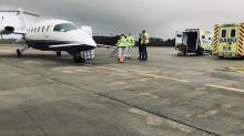 Le jeudi 29 octobre, deux patients du CH de Nîmes ont été transférés, via l'Aéroport de Lorient Bretagne Sud vers le Groupe hospitalier Bretagne Sud