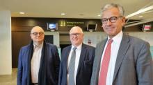 Ludovic Jolivet, maire de Quimper, Jean-François Garrec, président de Aéroports de Cornouaille et Frank Bellion, président de la CCIMBO