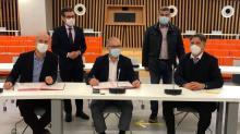 Olivier Bécot, CEO OpenFly, Fabrice Loher, président de Lorient Agglomération et Pierre Montel président de la CCI du Morbihan