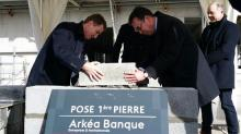 Blanpain du Crédit Mutuel  Arkéa et Jean-Marc Trihan du Groupe Lamotte posent la première pierre du futur ple entreprises et institutionnels du Crédit mutuel Arkéa