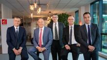 De g. à dr. : Mathieu Réquillart, Christophe Pinault, Bruno Gilles, Francis Delacre et Yann Le Gourrierec