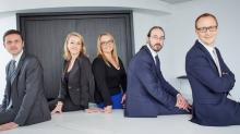 Les cinq associés du cabinet (de gauche à droite) : Jean-Franck Chatel, Sophie Guillon-Coudray, Raphaële Antona-Traversi, Tanguy Mocaer et Romain Thomé.