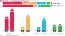 Une étude de la Chambre de Commerce et d'Industrie (CCI) de Bretagne, publiée en décembre, détaille la répartition de ces emplois dans quatre secteurs d'activités :