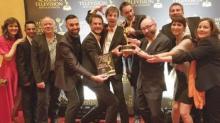 Stéphane Donikian (3ème à partir de la gauche)  et son équipe lors de la 70ème cérémonie des Annual Technology & Engineering Emmy® Awards le 7 avril 2019 à Las Vegas