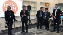 Inauguration de l'Inria Tech à Rennes en présence des prtenaires financiers, Loïg Chesnais Girard, Président de la Région et Emmanuel Couet,  président de Rennes Métropole