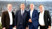 De g à d :  Samuel Lepeltier, Michel Azria, Soïg Le Bruchec et David-Eric Levy