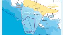 La zone de débat pour le projet de parc d'éoliennes flottantes en Bretagne Sud