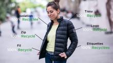 La doudoune Refa est à 100 % en matériaux recyclés, jusqu'au zip de la fermeture ainsi que le logo