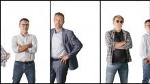 Yannick Morvan, dirigeant de Pro-Fermetures, entourés des artisans de sa Web-TV, Franck Delalande de Talents Tube et Philippe Bonhomme de Goodman et compagnie