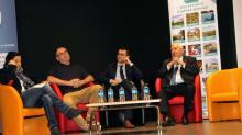 A l'occasion de la cérémonie des voeux, Thierry Troesch ( à droite) Il a passé en revue les principaux projets et enjeux du territoire, aux côtés de ses partenaires : la CMA, Dinan agglomération et le CEPR *.