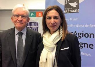Jean Hamon, président du Ceser et Forough Salami, vice-présidente Europe et international du conseil régional