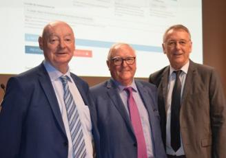 de G à D : Gilles Falc'hun, Pdt BCI , Jean-François Garrec, Pdt CCI Bretagne et Vincent Chamaret, Directeur BCI