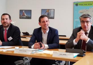 de g à d : Mahthieu Bourdais, Directeur Brezih Invest PME, Martin Meyrier, Vice-Président de la Région Bretagne à l'économie et Marc Brière, Président de Breizh Invest PME