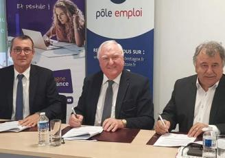 De g à d : Frédéric Sévignon, Directeur de Pôle emploi Bretaggne, Jean-François Garrec, Président de la CCI Bretagne et Louis Noël , Président de la Chambre régionale des métiers