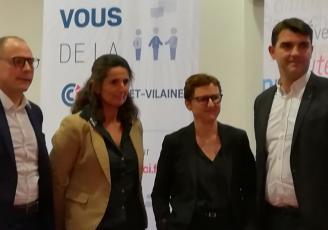 de gauche à droite : Nicolas Duforeau, Véronique Carabin, coprésidents de l'Union du commerce, Fabienne Langevin, élue commerce à la CCI et Charles Compagnon, président du Carré Rennais.