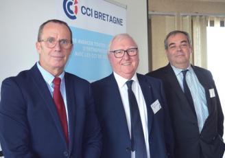 de G à D : Philippe Martineau , Trésorier CCI Bretagne, Jean-François Garrec Président et François Clémentn Directeur général
