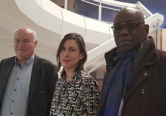 de g à d : Alain Jolivel, dirigeant de Nat'Kaps, Annie Le Masson, animatrice du Club Afrique et Didier Mavouenzela, président de la Chambre de commerce d'industrie d'Agriculture et des Métiers (CCIAM)