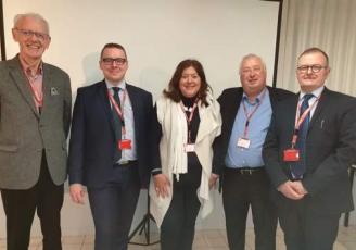 (de gauche à droite) : Lucien TRAON (GTID) Franck TROESCH (STIndustries), Jocelyne MADEC (NOVATECH), Thierry TROESCH (STIndustries), Didier MARCHANDISE (WEARE Aerospace)