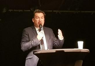 Emmanuel Thaunier, président de la CCI Ille-et-Vilaine a présenté ses vœux le 13 janvier 2020 devant un parterre de chefs d'entreprises et élus locaux