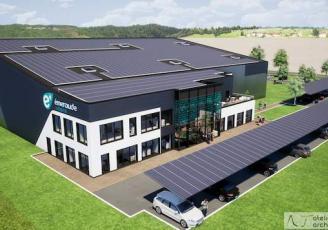 Visuel 3D du futur bâtiment de 2 400  m² d'Émeraude Solaire à Miniac-Morvan