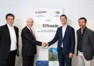 De gauche à droite, Christophe Guyard (Directeur pôle bâtiments connectés groupe Delta Dore), Marcel Torrents (Président du Directoire groupe Delta Dore), Vincent Legendre (Président du Directoire groupe Legendre) et Pascal Martin (Directeur général groupe Legendre).