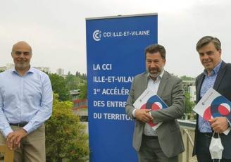 De g à d : Karim Khan, Président de l'Umih Bretagne, Emmanule Thaunier, président de la CCI Ille-et-Vilaine et Jean-Virgiles Crance, Président du GNC