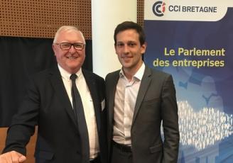 Jean François Garrec, Président de la CCI Bretagne et Martin Meyrier, Président de la Commission économie, agriculture et mer, Europe, chargé des TPE de  la Région Bretagne