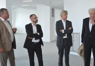 De g à d : Hugues Meili , Pdt Niji, Xavier Hébert Dg Promotion chez Giboire, Michel Giboire, âtron du Groupe immobilier et Jean-Paul Viguier, architecte  responsable du projet Identity
