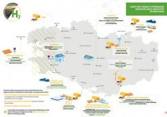 Carte des projets hydrogènes renouvelables identifiés en Bretagne