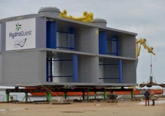 HydroQuest Ocean est immergée sur le site d'essais de Paimpol-Bréhat (22) depuis fin avril 2019, pour une période d'un an, dans le cadre du projet OceanQuest.