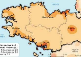 Les personnes à très haut revenu résident essentiellement dans les grands pôles urbains et sur le littoral