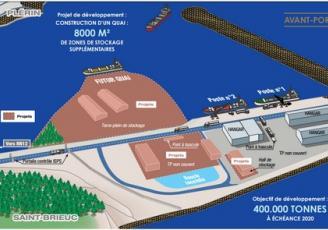 Pour pallier ce déficit de place, la Région participe à hauteur de 203 000 € à l'aménagement d'une plateforme de stockage de bois sur l'avant-port du Légué,